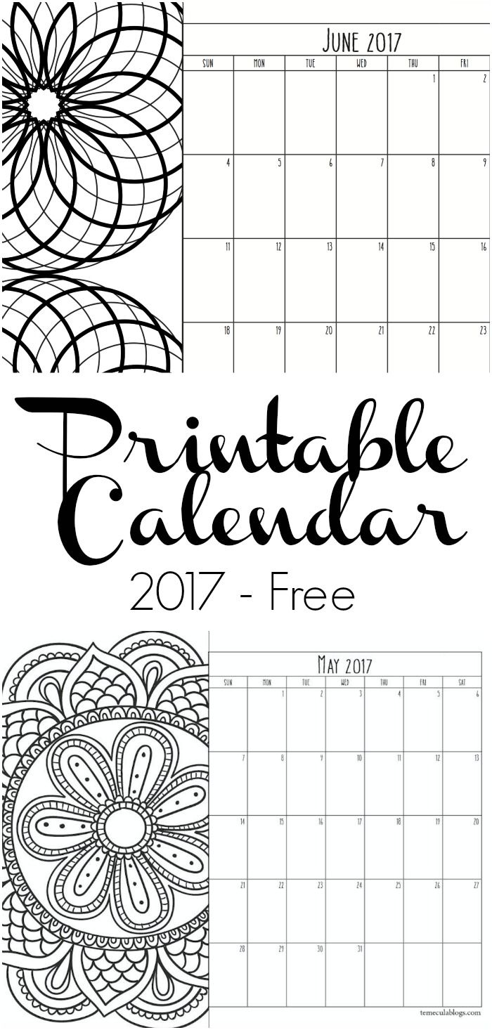 Here are free printable calendar pages for 2017. Print one month at a time or an…