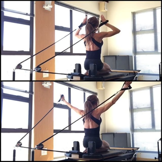 ⭐️ Pilates Reformer - Arm and shoulder work with added thoracic mobilization ⚠️ Good dynamic posture not only relies on a strong core but also structural and functional integrity of the shoulder girdle muscles. Correct shoulder mechanics involves a coordinated movement of the humerus and scapula. The shoulder should never be loaded if the posture is incorrect as this will place the humeral head incorrectly in the shoulder capsule and cause inflammation and wear and tear on th...