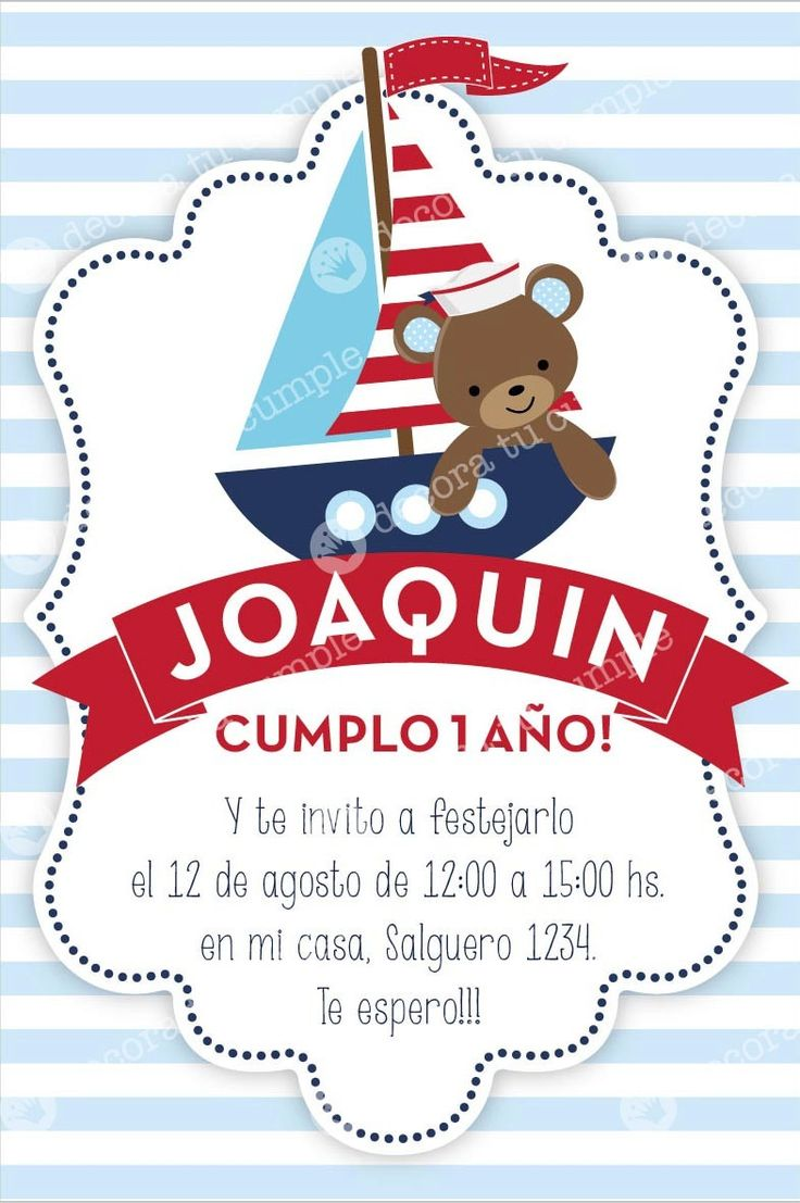 invitaciones infantiles marinero - Buscar con Google