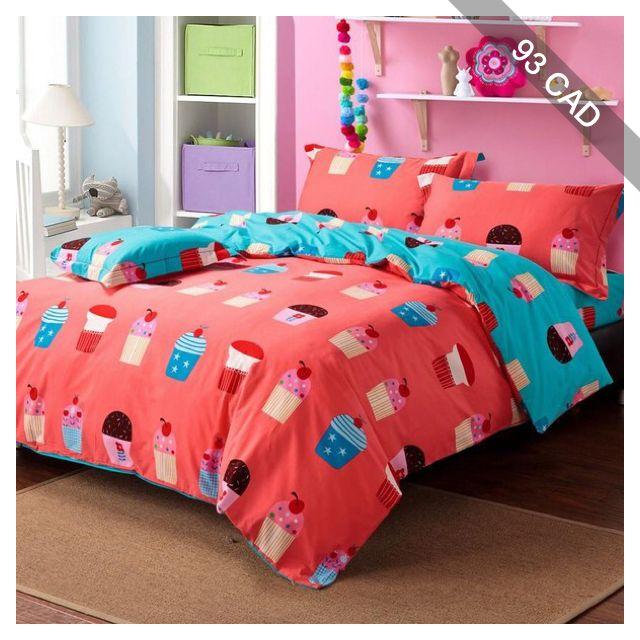 cute colorful cupcake patterns orange blue cartoon kids bedding set full queen king size sanding cotton flannel duvet coverkids bedding setscartoon