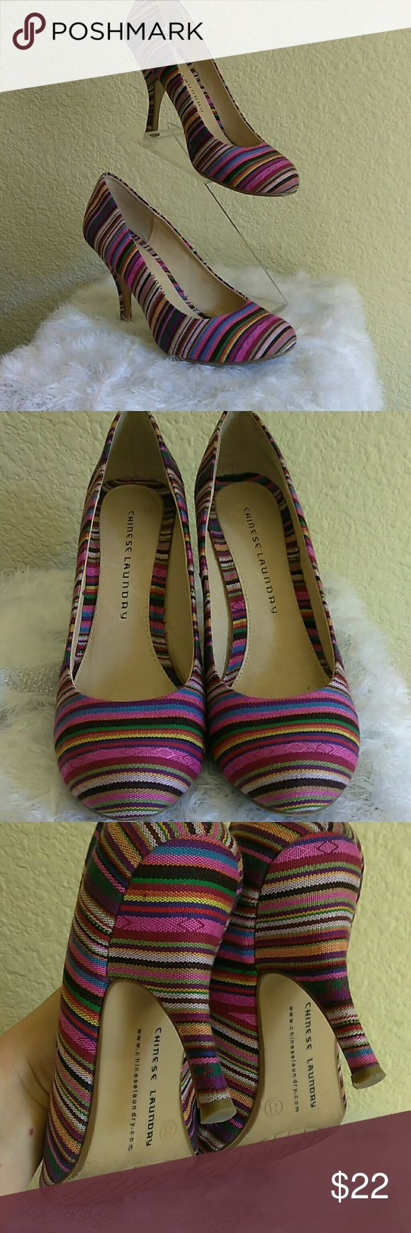 Chinese Laundry women's shoes. Chinese Laundry Women's pumps multi color stripes print pre-owned but still in great condition. Size 8 very comfortable, casual, they can go with almost anything! Chinese Laundry Shoes Heels