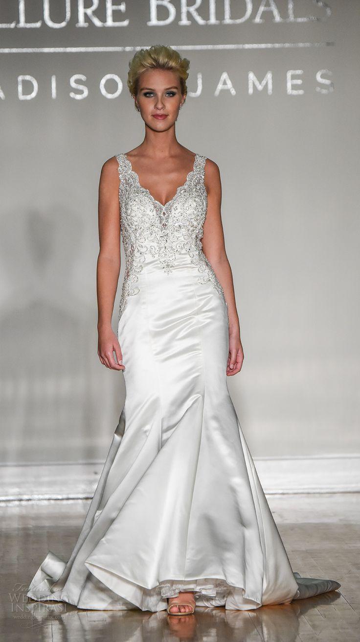 allure bridal maddison james f2017 sleeveless thick strap v neck heavily embellished bodice satin skirt elegant trumpet wedding dress illusion back sweep train (016) mv