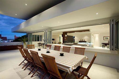 Outdoor dining.. Indoor outdoor kitchen
