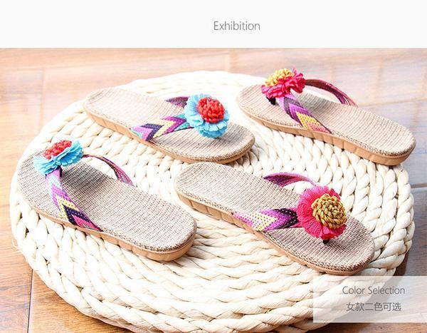 Summer Slippers Linen Flip Flop Women Flower Ribbon Sandals Flat Non-Slip Slipper