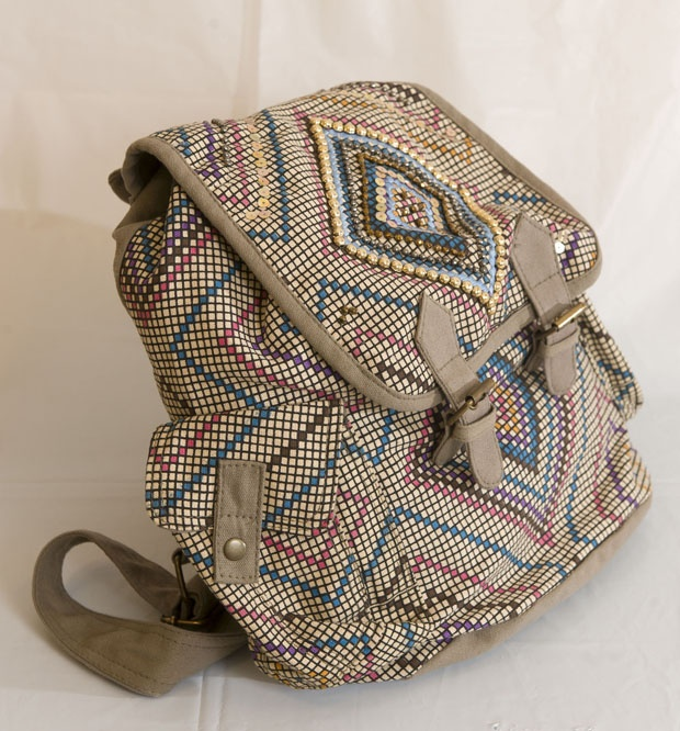 PREPPY: Tan bedazzled backpack, $50 at AldoShoes.com. Enter to win a $ 500 shopping spree with @TheProvince and Brentwood Town Centre: http://theprov.in/pinandwin #backtoschool