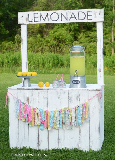 Vintage lemonade stand with reversible chalkboard sign   Cute DIY lemonade stand idea. Cute photography prop or activity for the kids.