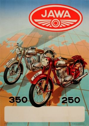 Jawa Motorbikes 350 250 1949 - original vintage motorcycle advertising poster listed on AntikBar.co.uk