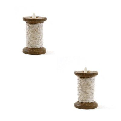 """August Grove Spool Battery Candle Size: 4.5"""" H x 3"""" W x 3"""" D, Color: Cream"""