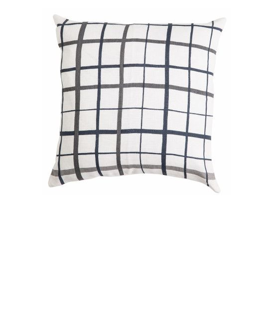 THE HARVEY SQUARE LINEN CUSHION - Grey Checks with Natural Piping. Shop here: http://kateandkate.com.au/shop/collections/the-harvey-square-linen-cushion-grey-blue-checks-with-natural-piping/ //  #exhalebykateandkate #kateandkate #kkcushions #cushion #interior #design #home #bed #bedroom #lounge #inspo #textiles #grey #checks