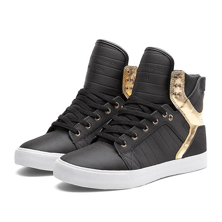 SUPRA SKYTOP Shoe | BLACK / GOLD - WHITE | Official SUPRA Footwear Site