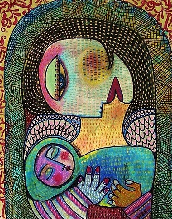 Indigo Tapestry Angel Mother And Child Painting