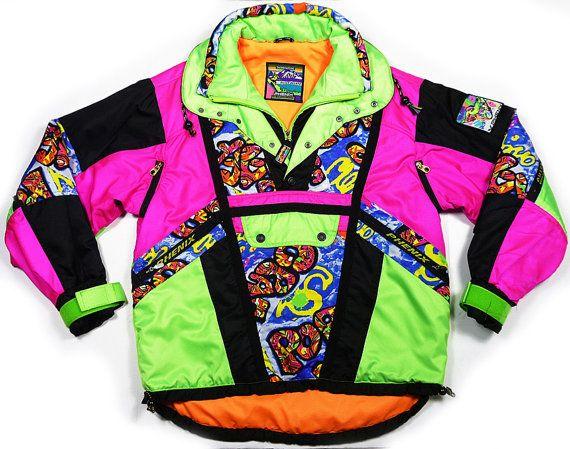 Vintage 90s Gilles Becker snowboard ski neon jacket fresh prince Hip-Hop M mens