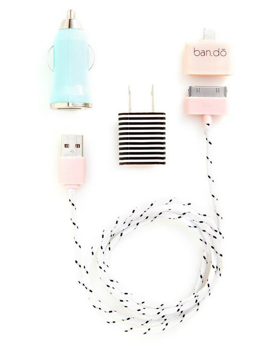 Ban.do Power Trip power charging kit - love the colors and the stripes.Battery Power, Charging Kits, Tech Gift, Power Charging, Techie Stuff, Kits 24, Supercuts Kits, Mom Tech, Chargers Kits
