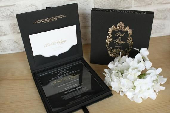 100 Set Of Acrylic Invitation With Black Hardbox With Images