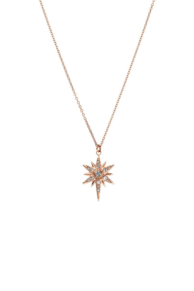 Diamond Star Necklace Rose Gold