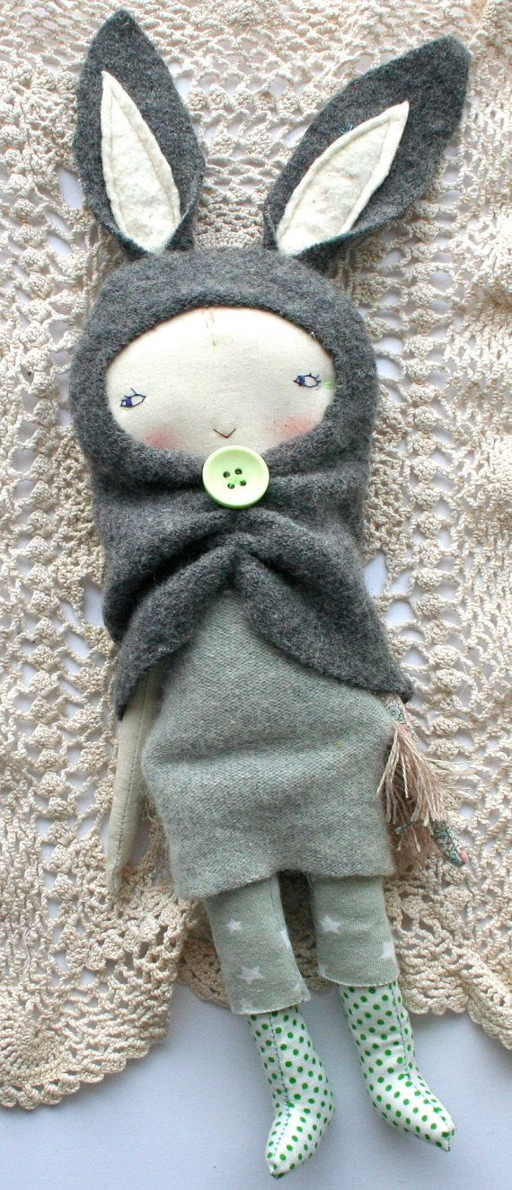 "grey rabbit pixie little lu doll 12"" - cloth doll, rag doll, grey rabbit hood, sweet light brown hair, cashmere dress, starry jumper"