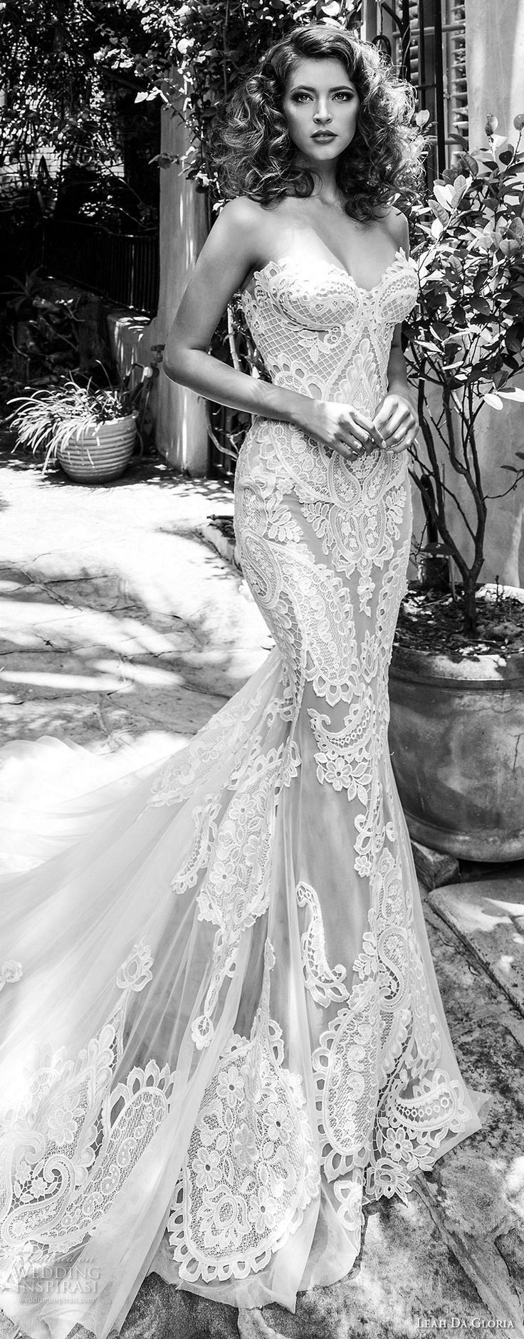 leah da gloria 2017 bridal strapless sweetheart neckline full embellishment elegant sexy fit and flare mermaid wedding dress chapel train (emily) zv -- Leah Da Gloria 2017 Wedding Dresses