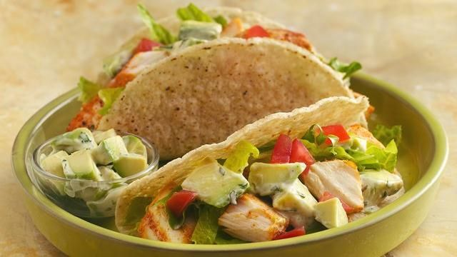 Grilled fish tacos with creamy avocado topping recipe for Sauces for fish tacos