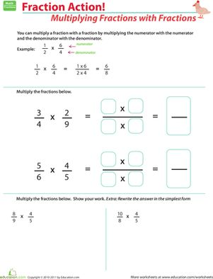 Multiplying Fractions with Fractions | Worksheet | Education.com