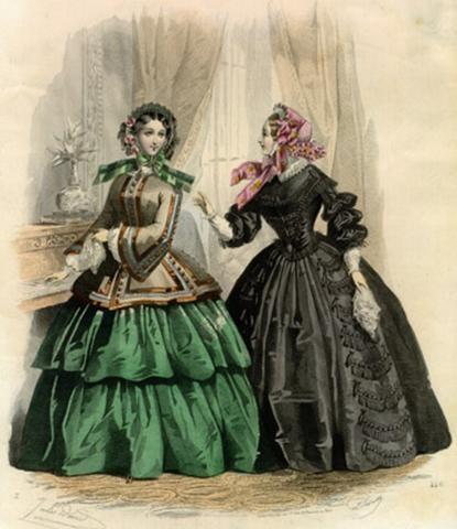 1850s fashion plate, green w/ brown bodice.