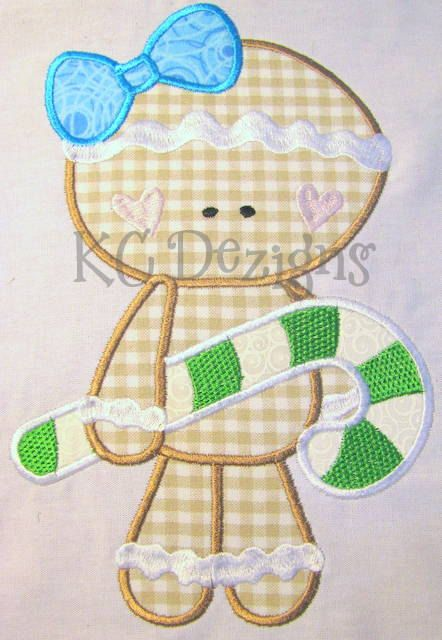 Holiday Gingers 01 Machine Embroidery Applique Design by KCDezigns, $3.50