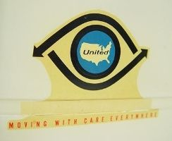 """In 1953, the American United Van Lines logo was adopted with the slogan: """"Moving With Care Everywhere""""."""