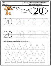 okul öncesi 20 sayısı çizgi çalışması