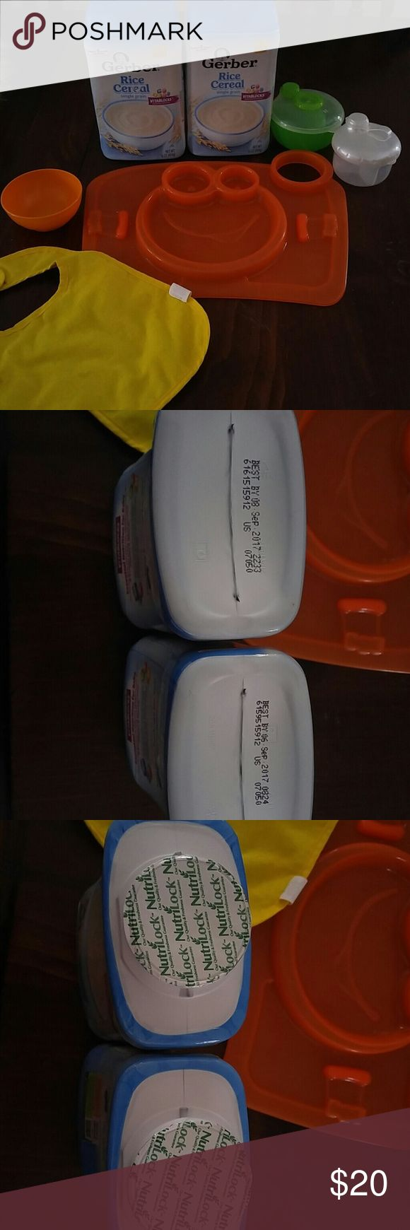 LARGE Baby food and toy bundle limited time SALE 2 in opened 16 0z rice cereal (gerber) Food tray 2 snack or formula containers  Bib And little bowl Used but good condition 2 soft blocks Little book Soft rattle Hard rattle 2 teethers  One fruit or freezer teether Car seat tangle toy And a monkey Other