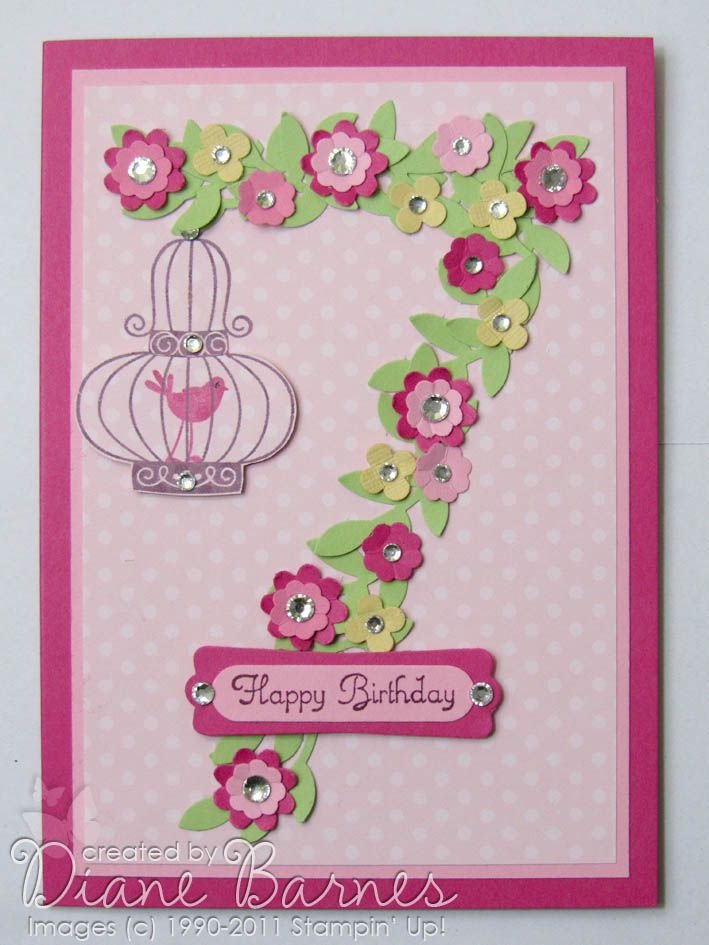 11/12/2011; Diane Barnes at 'colour me happy' blog; Aviary stamp set; punches:  bird builder, boho blossoms, itty bitty punch pack, word window, modern label; one could make any number for this lovely card