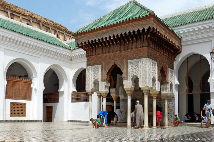 Worshipers performing ablutions at the Kairaouine, worlds oldest university in Fes, #Morocco