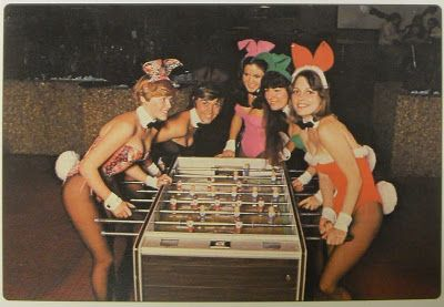 Playboy bunnies playing table top football 1969