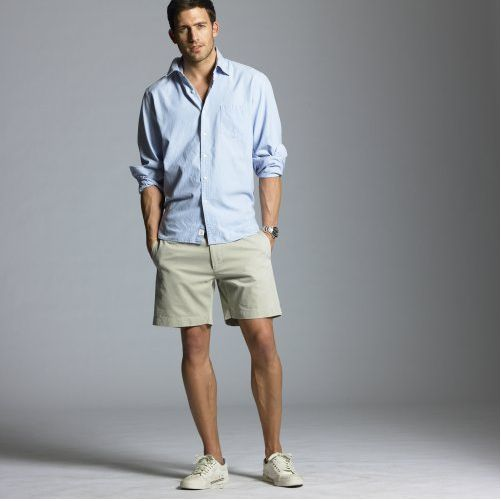 That's the summer look. Casual shirt, chino pants, and ...