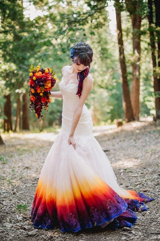 This artistic bride transformed a discount-store dress by airbrushing the hem with a rainbow of colors.
