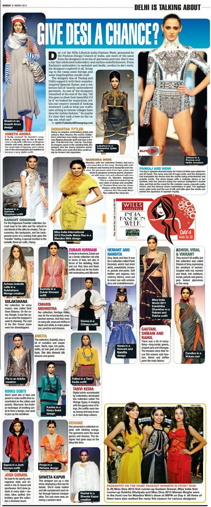 Designer Rinku Sobti_ Delhi Times Coverage_31st March'14