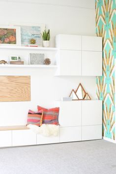 San Francisco Interior Design company Regan Baker Design - RBD Office, Cavern Home Wallpaper, Ikea Besta White Cabinets Storage, Ikea Hack Bench, Floating Shelves, Interior Styling, Midcentury Modern