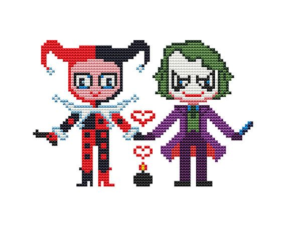 JOKER and HARLEY Quinn Cross stitch Pattern PDF   Boy di POWSTITCH
