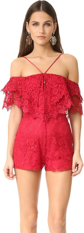 Alice McCall Little Red Corvette Romper | A lace Alice McCall romper, styled with layered ruffles trimming the off-shoulder neckline. Adjustable shoulder straps. | #fashion #style #glam #ootd #outfit #stylish #dress
