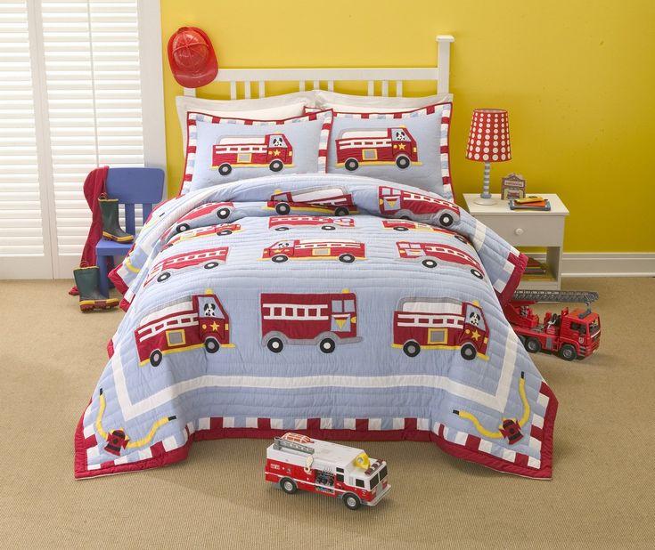 Cotton Fire Truck Full Queen Quilt With 2 Pillow Shams