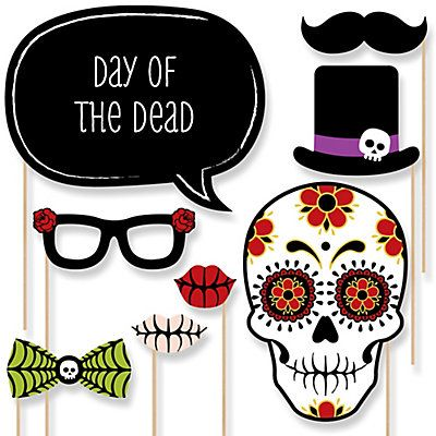 Day Of The Dead - 20 Piece Dia de los Muertos Photo Booth Props Kit | BigDotOfHappiness.com
