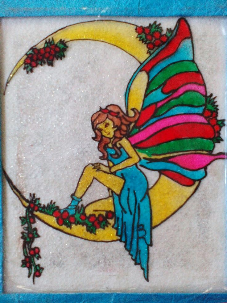 Glass Painting On An Ohp Sheet Topic Fairy Sitting On