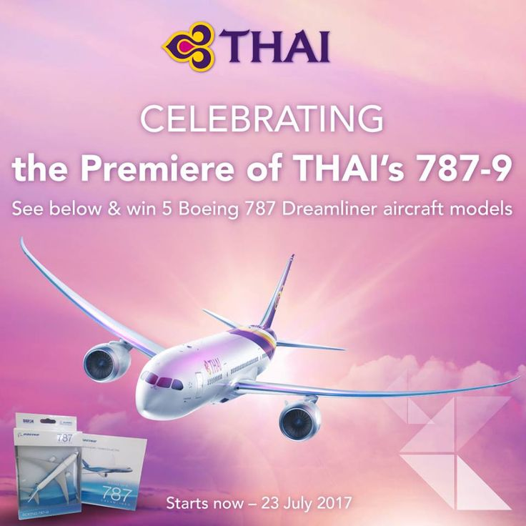 We are giving away 5 Boeing 787 Dreamliner aircraft models and 5 Boeing 787 Dreamliner notebooks exclusively for our fans on Instagram as a celebration the premiere of THAI's 787-9...WOW! :D https://www.facebook.com/thaiairwaysguam/photos/a.1406291309698920.1073741827.1406280419700009/1835609833433730/?type=3&theater