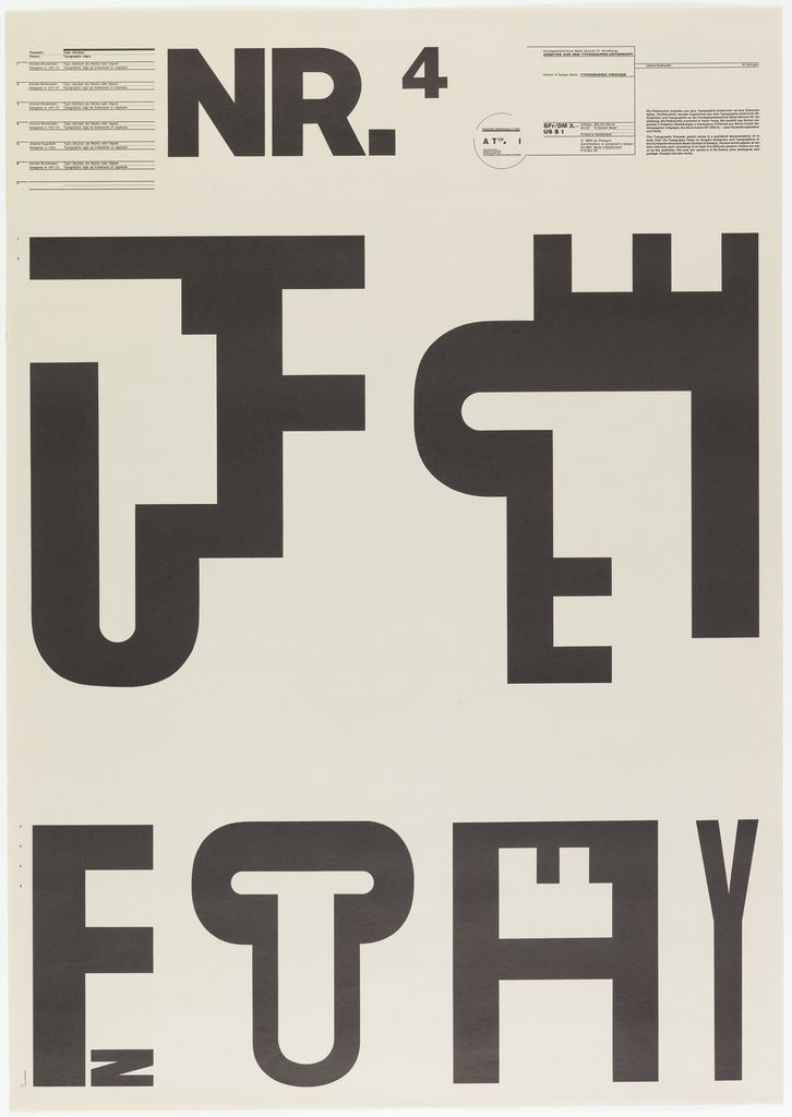 Poster, NR.4-Typographic Process, Typo-Zeichen [Typographic Signs], from the School of Design, Basel, 1974