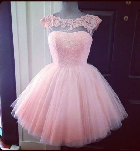 Cap Sleeve Prom Dress, Pink Prom Dress, Cute Prom Dress, Knee-length Prom Dress, Tulle Prom Dress, P on Luulla