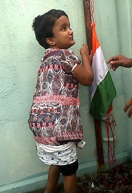 Moni raising the flag on Independence Day, August 15th. #myshuktara #kolkata
