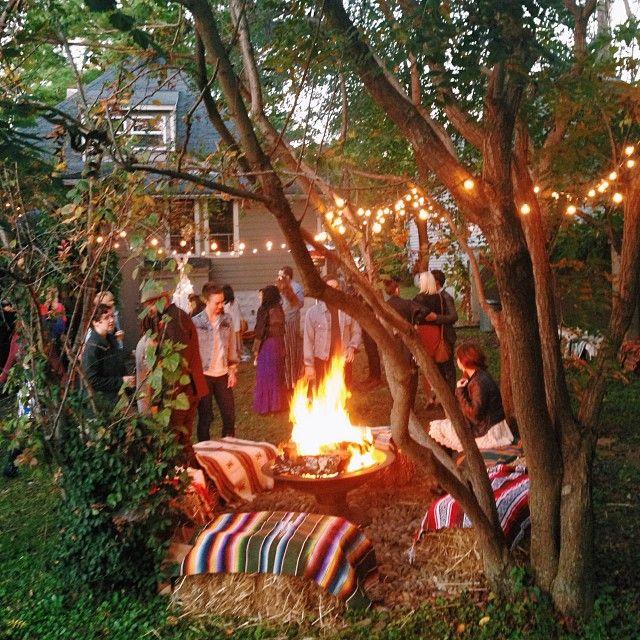 Bohemian backyard wedding reception. Nashville