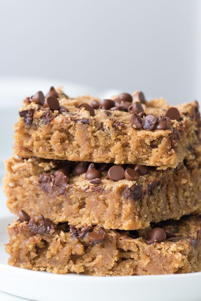 Protein Packed Chocolate Chip Cookie Bars Vegan And Gluten Free