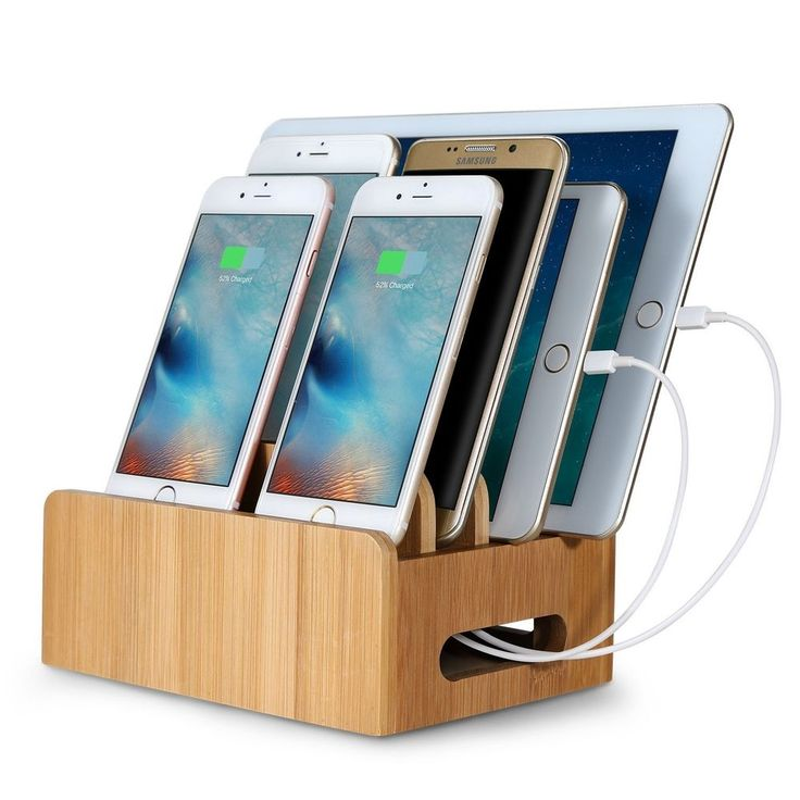 Cord Organizer, MaxTronic Bamboo Stand Multi Device Desktop Cords Organizer Dock  Charging Station Holder With Built In Insert Slots For Smartphones, Tablets  ...