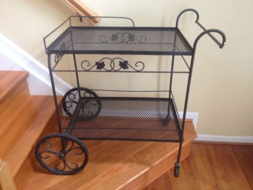 Wrought Iron Bar Tea Serving Garden Plant Cart Stand Table 2 Tier Rolling