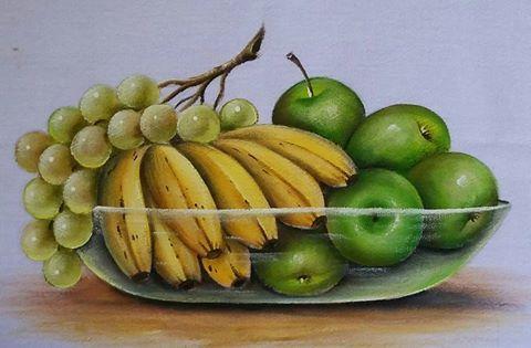 maçã Amarelo limão, Verde maçã, Verde Folha, Verde musgo, Siena natural e sépia.