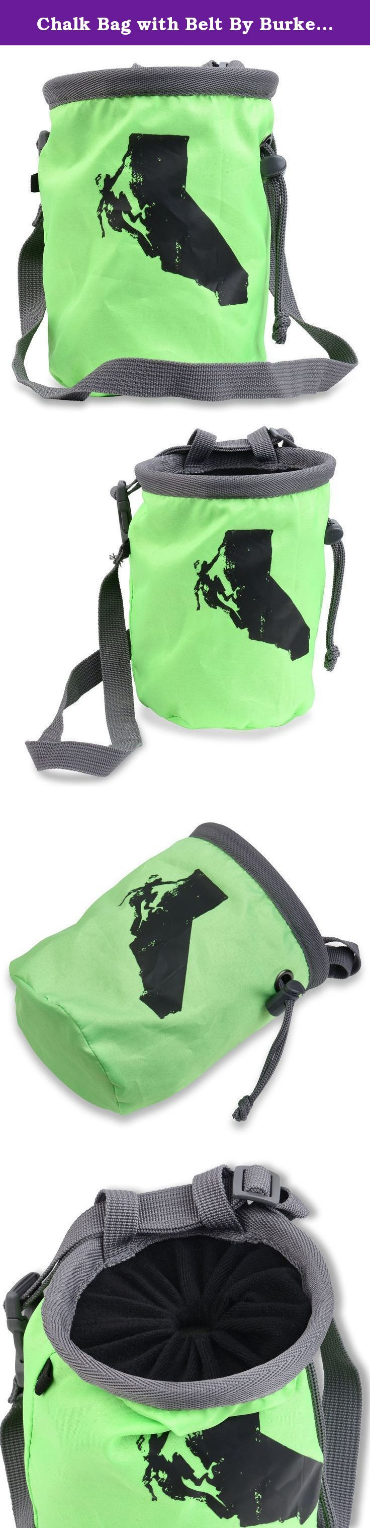 """Chalk Bag with Belt By Burke's Climbing Works, Great Rock, Mountain Climbing Gear, Great for Indoor Rock Climbing, Bouldering, Gymnastics and Weightlifting. Burke's Climbing Works """"Climb California"""" chalk bag uses a simple design of lightweight fabric attached to a sturdy flexible rim with a drawstring cinch to create an extra tight seal to prevent annoying chalk leaks. Adjustable belt included so you can wear it while tackling that tricky V6, or attach it to your climbing harness to help..."""
